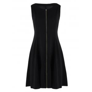 Zip Up Sleeveless Flare Dress