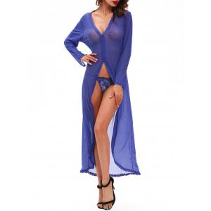 Plunge High Slit Mesh Maxi Babydoll Dress