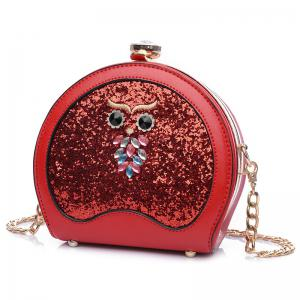 Owl Sequined Crossbody Bag - Red - Horizontal