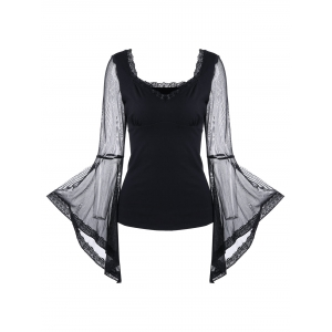 Sheer Mesh Insert Bell Sleeve Top - Black - 2xl
