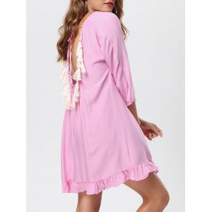 Tassel Lace Up Backless Casual Dress
