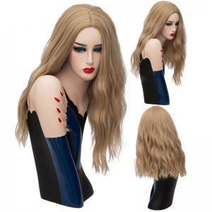 Long Center Part Fluffy Natural Wave Synthetic Wig - Light Brown