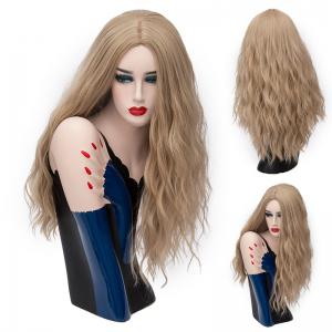 Long Middle Part Shaggy Natural Wave Synthetic Wig - Light Brown