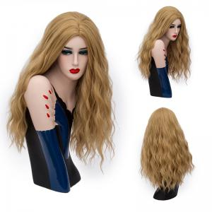 Long Middle Part Shaggy Natural Wave Synthetic Wig - Gold Brown