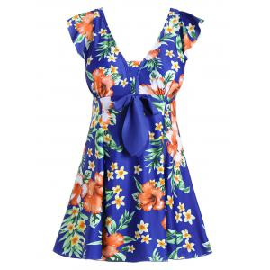 Floral Padded Skirted Plus Size One Piece Swimsuit