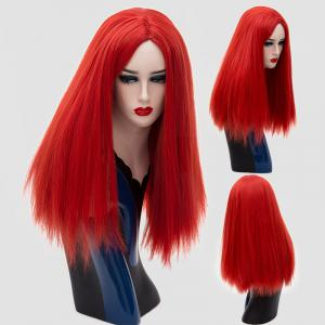 Long Middle Parting Silky Straight Synthetic Wig - Red - 28inch