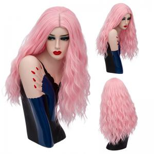 Long Middle Part Shaggy Natural Wave Synthetic Wig - Water Red - 28inch
