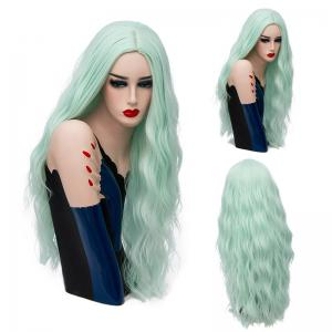 Long Center Parting Natural Wave Synthetic Wig - Neon Green