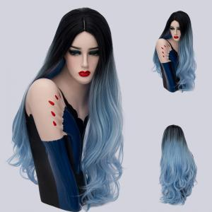 Long Cen Part Ombre Layered Wavy Synthetic Wig