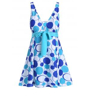 Padded Underwire Polka Dot Plus Size Swimdress