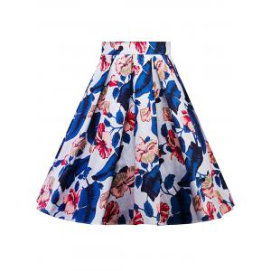 Plus Size A Line Floral Skirt