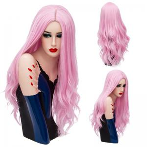 Long Middle Part Layered Shaggy Wavy Synthetic Wig - Light Pink - 28inch