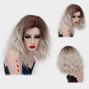 Medium Side Part Shaggy Natural Wave Ombre Synthetic Wig - Grey White