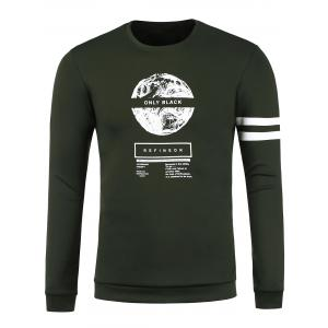 Long Sleeve 3D Graphic Print Emboss Sweatshirt - Army Green - Xl