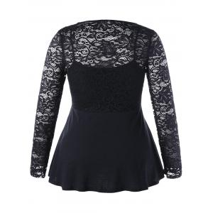 Lace Insert Empire Waist Plus Size Top -