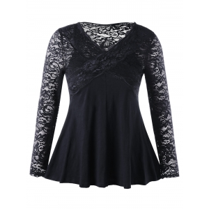 Lace Insert Empire Waist Plus Size Top - Black - 5xl