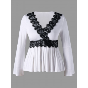 Bell Sleeve Lace Insert Plus Size Peplum T-shirt - White - 5xl