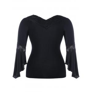 Lace Insert Bell Sleeve Plus Size T-shirt -