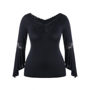 Lace Insert Bell Sleeve Plus Size T-shirt