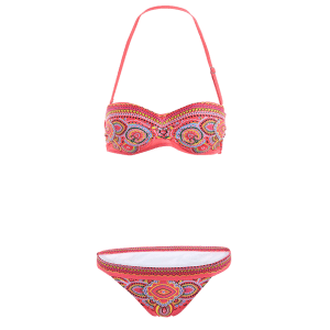 Sexy Strapless Ethnic Print Women's Bikini Set - RED S