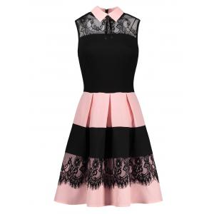 Lace Insert Sleeveless Fit and Flare Dress