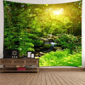 Forest Stream Sunlight Waterproof Wall Art Tapestry - GREEN W79 INCH * L59 INCH
