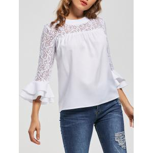 Lace Insert Flare Sleeve Hollow Out Blouse