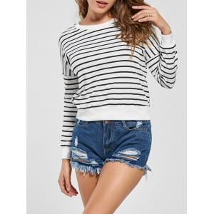 Slim Fit Knit Striped Sweatshirt