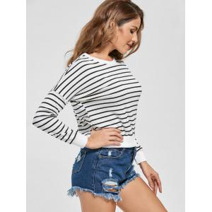 Slim Fit Knit Striped Sweatshirt - WHITE S