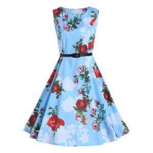 Print Knee Length Party Vintage Dress