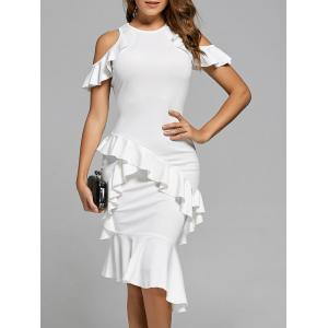 Ruffle Mermaid Cold Shoulder Dress