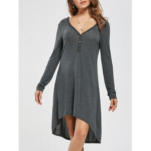 Long Sleeve Buttons Casual High Low Dress