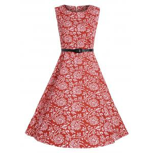 Print A Line High Waist Party Vintage Dress