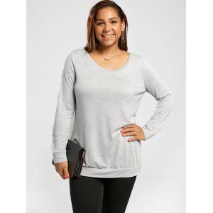 Sweat-shirt Simple avec Noeud papillon Grande Taille - Gris Léger 5XL