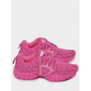 Mesh Breathable Geometric Pattern Athletic Shoes - ROSE RED 39