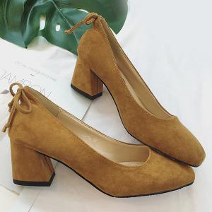 Square Toe Mid Heel Bow Pumps - BROWN 39