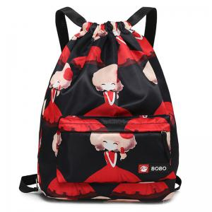 Nylon Printed Drawstring Backpack - Black And Red - 39