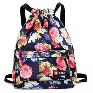 Nylon Printed Drawstring Backpack - Deep Blue