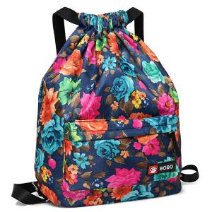 Nylon Printed Drawstring Backpack - BLUE