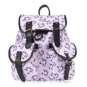 Emoji Unicorn Print Backpack - Pinkish Purple