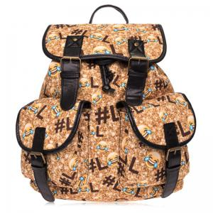 Buckles Emoji Print Backpack