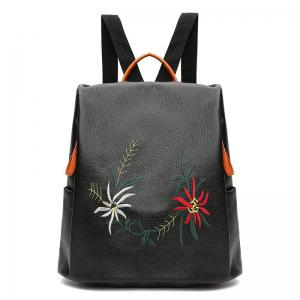 Embroidery Faux Leather Backpack - Black - 42