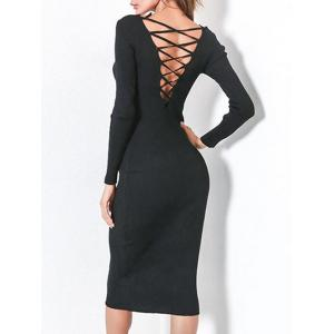 Long Sleeve Lace Up Backless Bodycon Dress