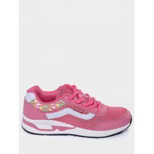 Geometric Pattern Breathable Athletic Shoes - PEACH RED 39