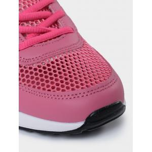Geometric Pattern Breathable Athletic Shoes - PEACH RED 40