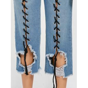 Fitted Lace Up Ripped Cropped Jeans - LIGHT BLUE S