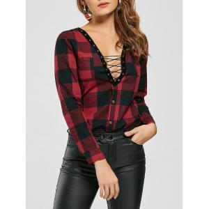 Criss Cross Long Sleeve Plaid Shirt