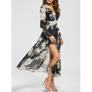 Sheer Slit Floral Maxi Long Sleeve Chiffon Dress - Black - M