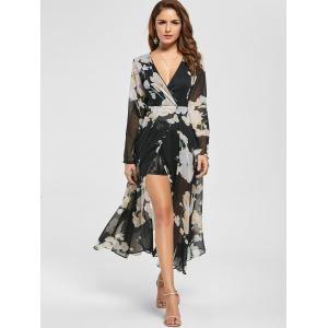 Sheer Slit Floral Maxi Long Sleeve Chiffon Dress - BLACK XL