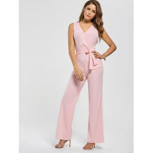 Cutout Wide Leg Jumpsuit - PINK L